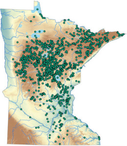 2008 Distribution of Wild Rice Lakes in Minnesota. Map courtesy of the MN Department of Natural Resources.